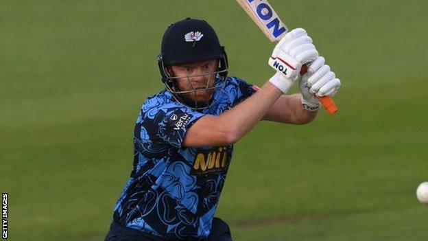 England's Jonny Bairstow top scored with 82 off 45 balls in Yorkshire's high-scoring win over Leicestershire