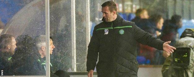 Celtic manager Ronny Deila expresses his frustration with the dugout