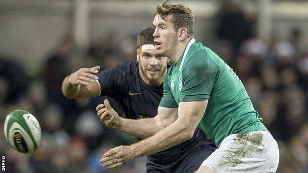 Chris Farrell in action for Ireland against Argentina in November