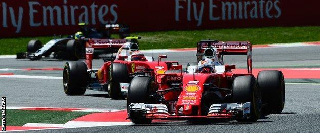 Ferrari F1 drivers Kimi Raikkonen (left) and Sebastian Vettel