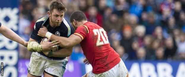 Scotland's Ryan Wilson took on Wales' Taulupe Faletau and came out on top