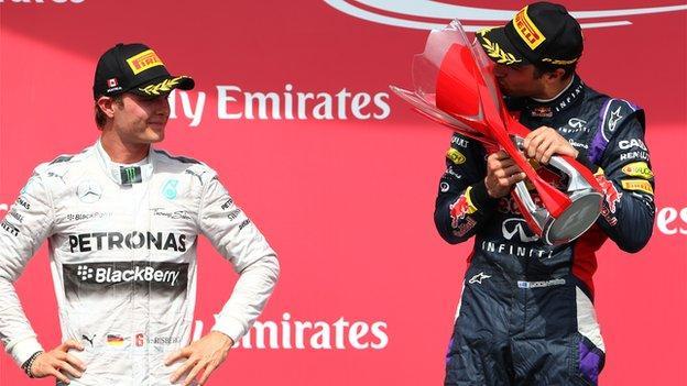Nico Rosberg and Daniel Ricciardo at the 2014 Canadian Grand Prix