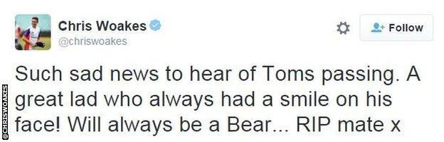 Chris Woakes tweet snip