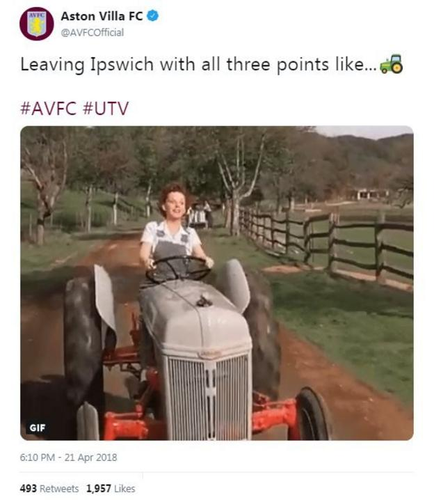 Aston Villa post a gif of a woman driving a tractor to troll Ipswich