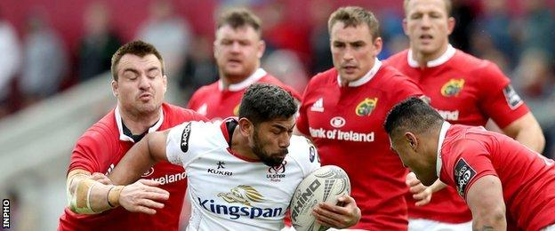 Charles Piutau, who struggled on his first visit to Thomond Park, got plenty of attention from the Munster team