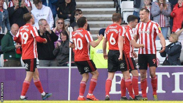 Sunderland celebrate Charlie Wyke's goal