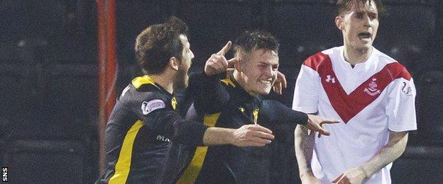 Livingston's Liam Buchanan and Danny Mullen celebrate