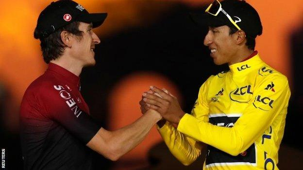 Geraint Thomas and Egan Bernal on the podium in Paris