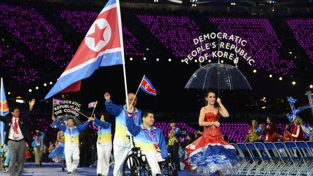 The North Korea team at the London 2012 opening ceremony