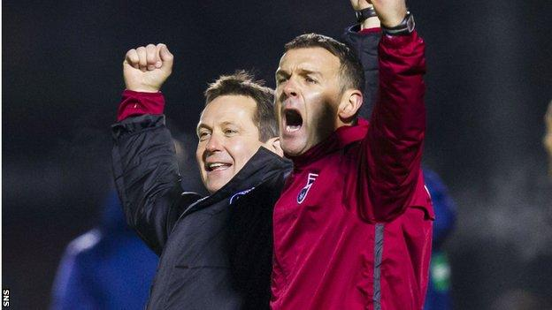 County boss Jim McIntyre celebrates with assistant Billy Dodds