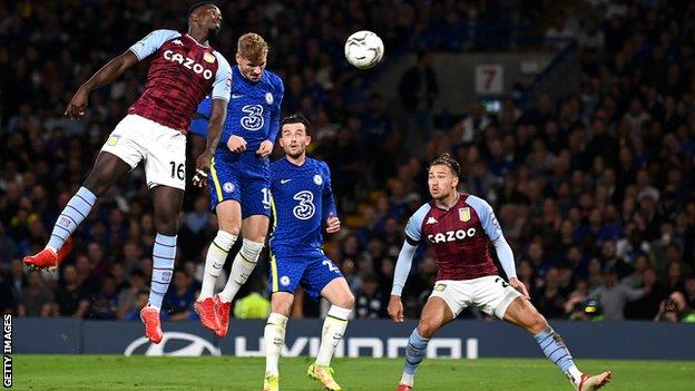 Timo Werner heads in a goal for Chelsea against Aston Villa