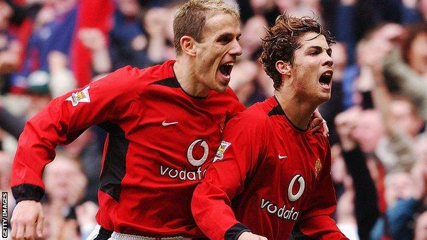 Phil Neville and Cristiano Ronaldo
