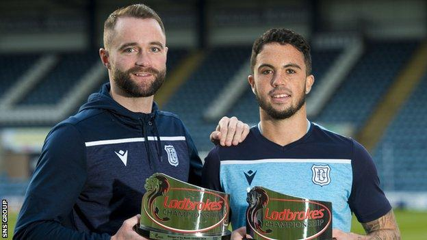 James McPake and Declan McDaid show off their monthly awards