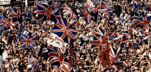 Nigel Mansell fans at the British Grand Prix