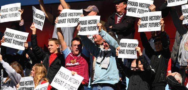 Villa fans protest against Chelsea