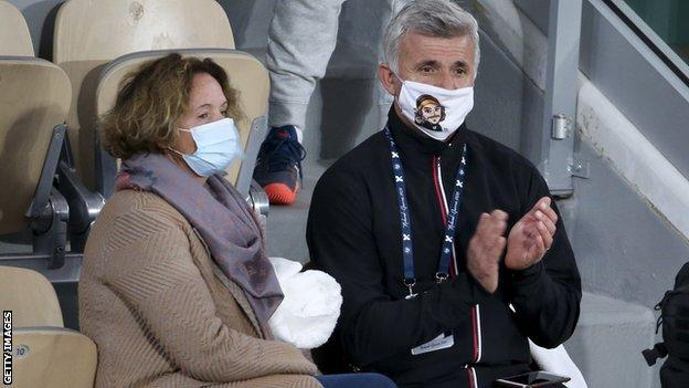 Tsitsipas' parents Julia and Apostolos watch on at the delayed French Open last year