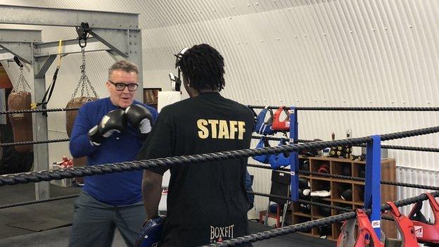 Labour MP Tom Watson boxing