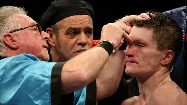 Kayes says Mick Williamson (left) educated him and is the best cut man in boxing