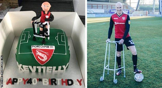 Kevin Ellison's 40th birthday cake and the man himself