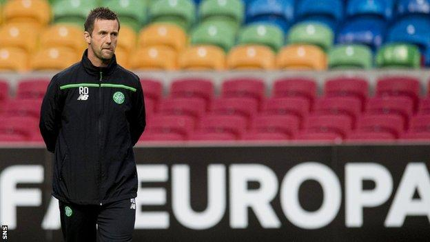 Celtic manager Ronny Deila surveys the scene ahead of the Europa League opener with Ajax