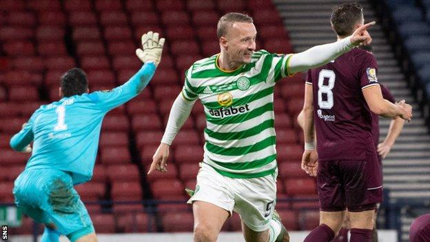 Celtic's Leigh Griffiths celebrates scoring against Hearts