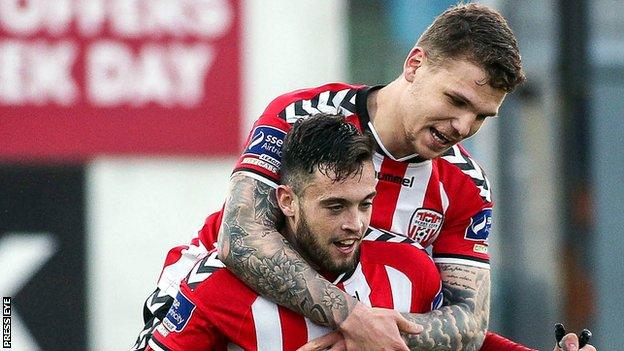 Nathan Boyle is congratulated after scoring his Derry opener against Sligo
