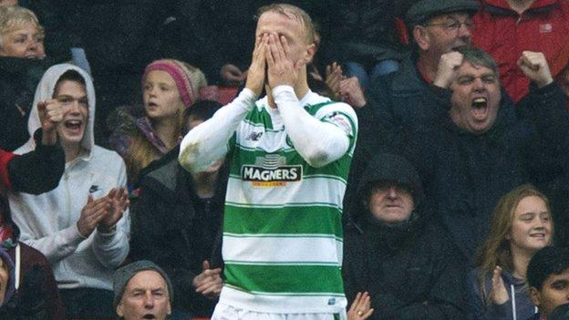 Celtic's Leigh Griffiths scored a penalty in the 2-1 defeat to Aberdeen