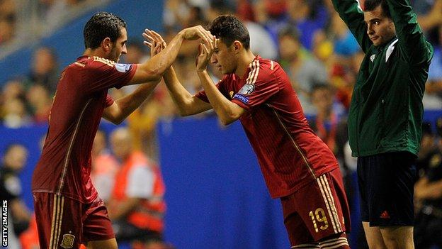 Spain's Koke and Munir El Haddadi