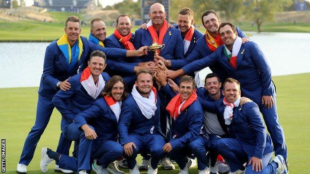 Europe celebrate winning 2018 Ryder Cup