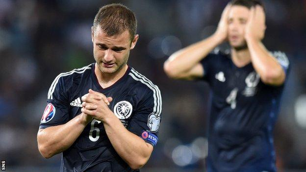 Scotland's Shaun Maloney shows his disappointment against Poland