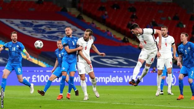 Declan Rice scores for England against Iceland in the Nations League