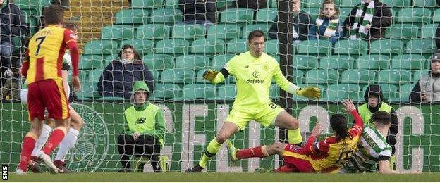 Celtic defender Kieran Tierney against Partick Thistle