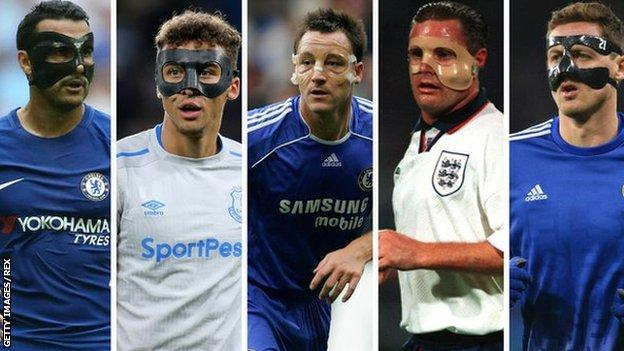 From left: Pedro, Dominic Calvert-Lewin, John Terry, Paul Gascoigne and Nemanja Matic have all taken to the field in protective masks