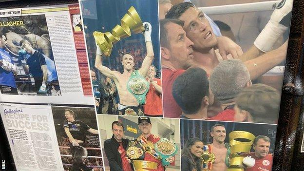 Images of Callum Smith's successes adorn the walls of Joe Gallagher's gym