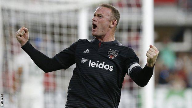 Wayne Rooney celebrates a goal for DC United