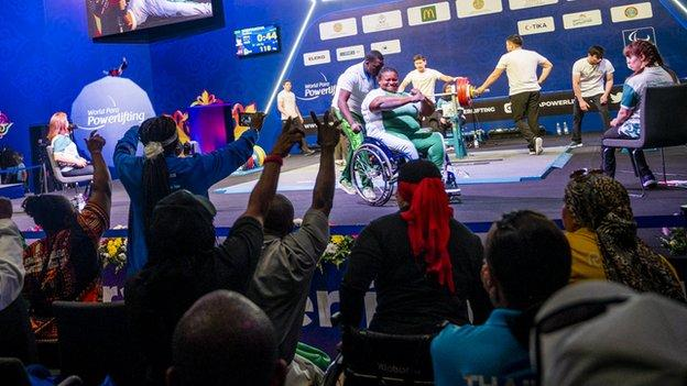 Precious Orji on stage at the 2019 World Para Powerlifting Championships in Kazakhstan