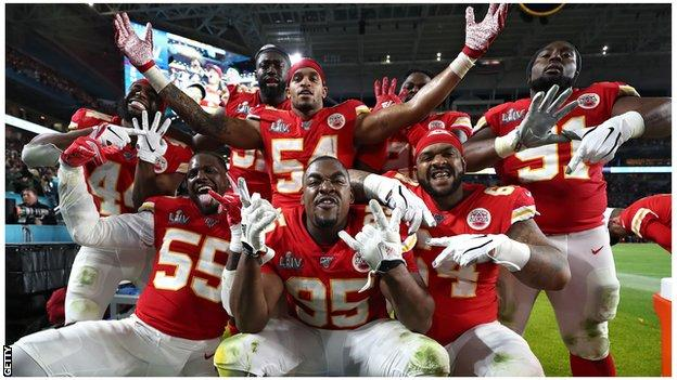 Kansas City Chiefs celebrate their win over San Francisco in February's SuperBowl