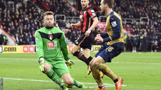 Arsenal's Aaron Ramsey challenges Bournemouth keeper Artur Boruc