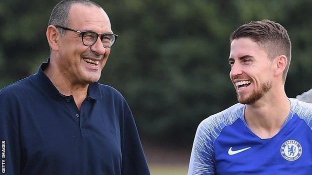 Chelsea boss Maurizio Sarri and midfielder Jorginho