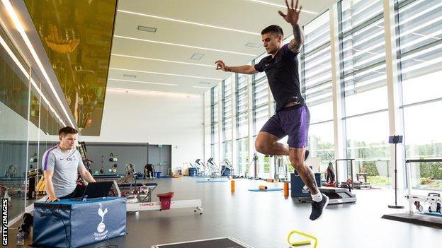 Erik Lamela training at Tottenham