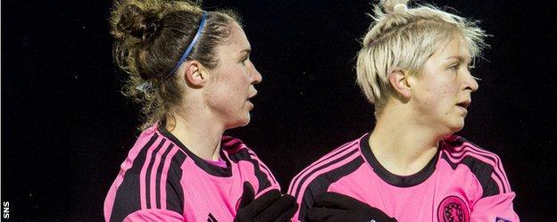 Scotland's Jane Ross and Lana Clelland celebrate