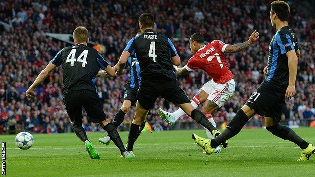 Manchester United forward Memphis Depay scores his first goal for the Old Trafford club