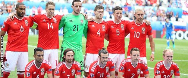 The Wales team that started against Slovakia