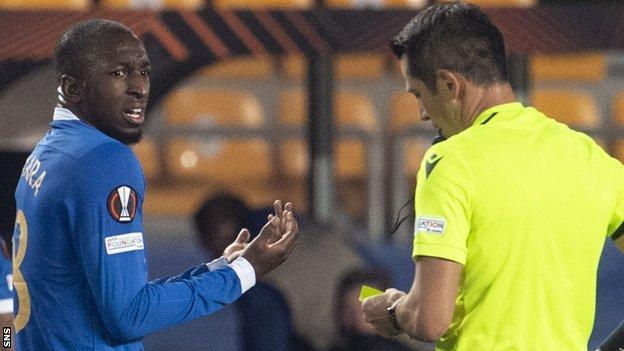 Rangers Glen Kamara was sent off during the defeat to Sparta Prague
