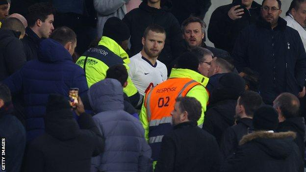 Eric Dier in the stands after the incident in March
