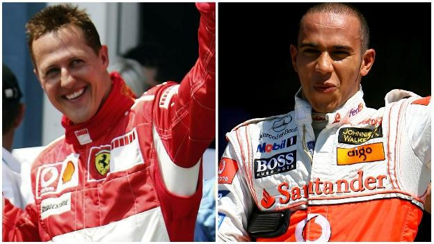 Michael Schumacher and Lewis Hamilton