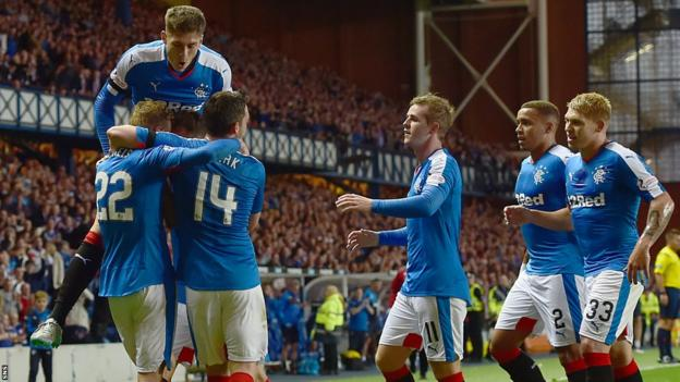 Rangers celebrate victory over St Mirren