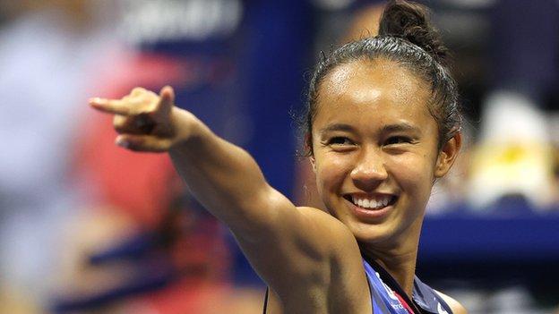 Leylah Fernandez celebrates after reaching the US Open final