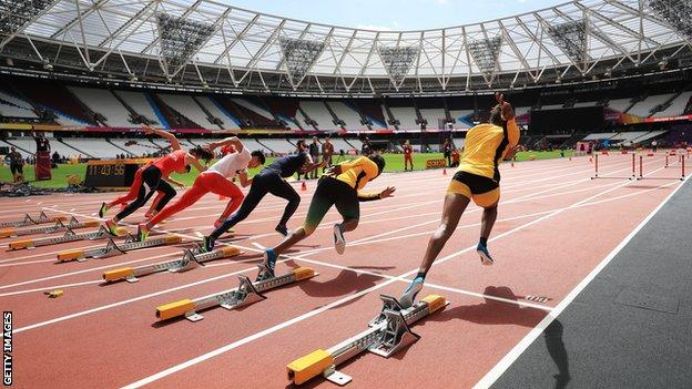 Athletes preparing for the World Championships at London Stadium