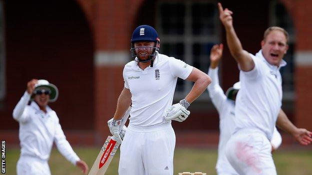England's Jonny Bairstow looks to the umpire as Dieter Klein of South Africa appeals successfully to take his wicket